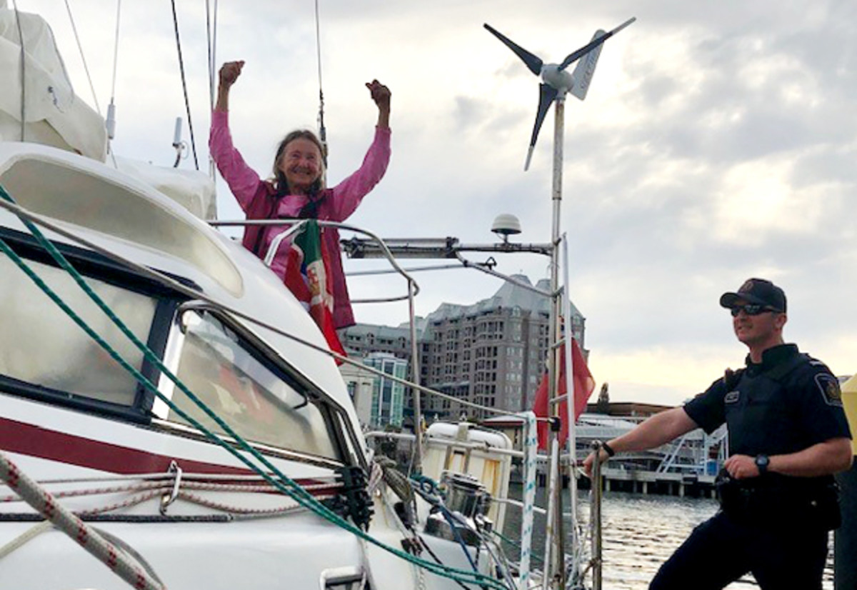 British sailor Jeanne Socrates at the end of his historic voyage