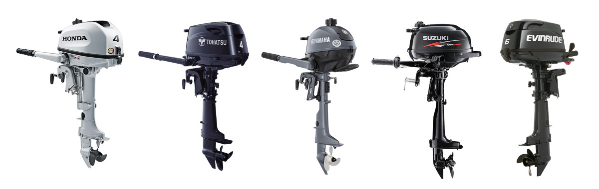 Smaller gas-powered outboards like these are the true workhorses of the cruising community