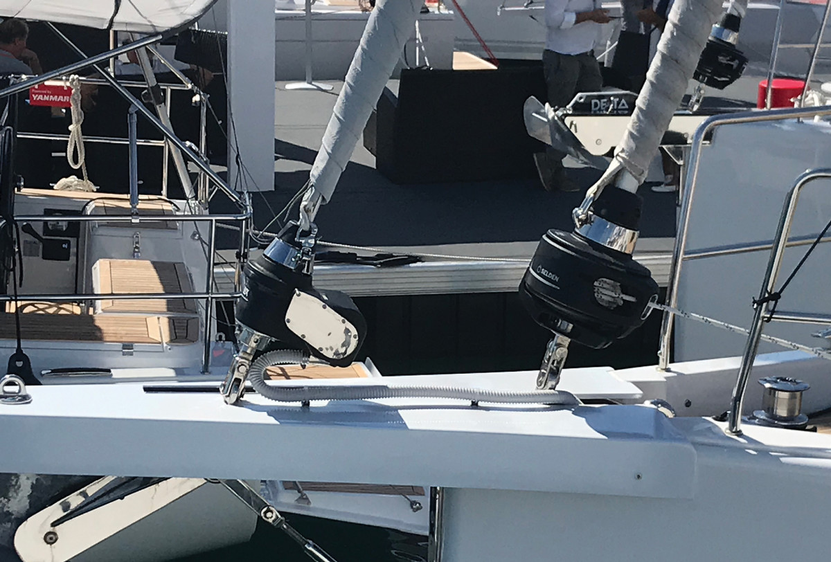 This boat has an electric furler for the big Code 0, while the smaller self-tacking jib stays manual