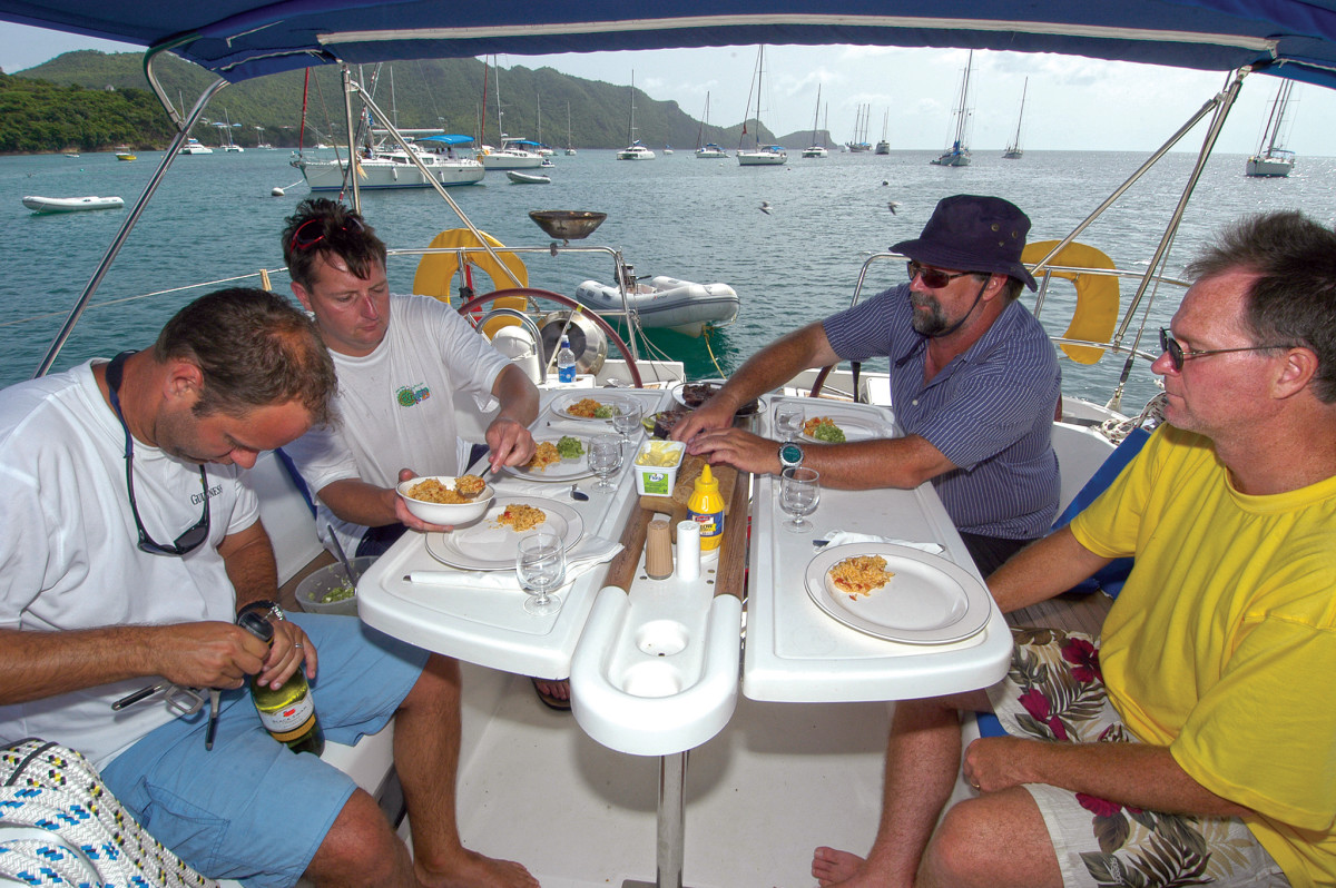 A well-mannered crew always helps to prepare and serve meals aboard