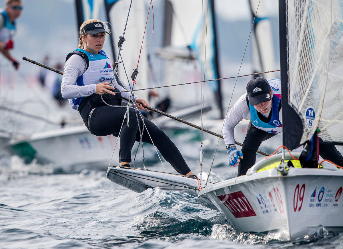 Stephanie Roble (left) and Maggie Shea competing in the 2019 49er FX worlds
