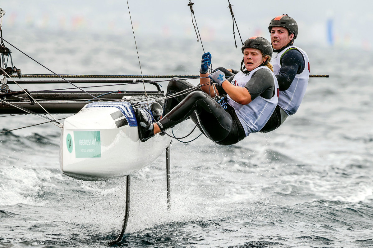Riley Gibbs and Anna Weiss are strong in the Nacra 17 class