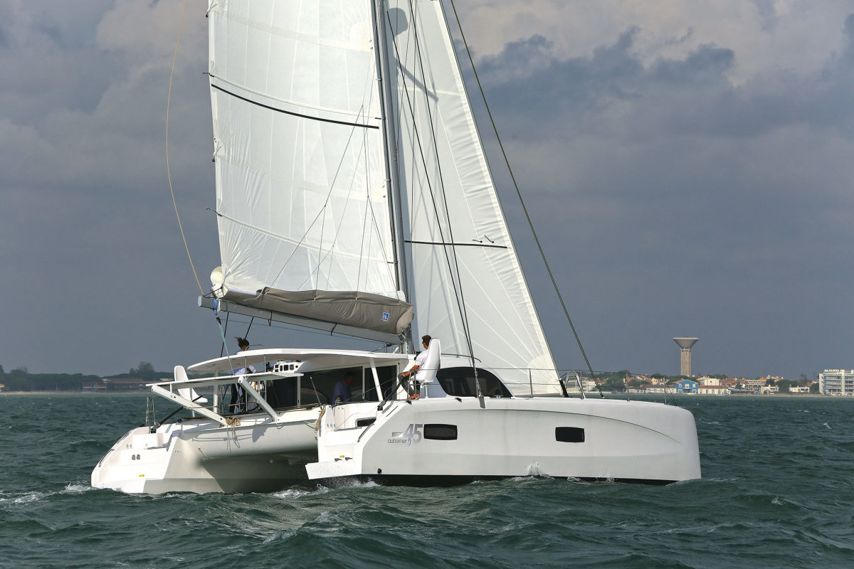 There are a number of reasons why this Outremer catamaran has a burly mainsail