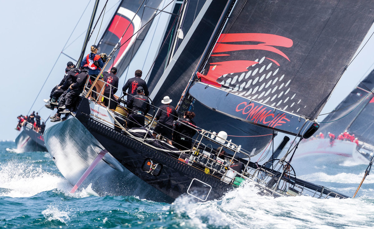 The view of Comanche that her rivals saw in the closing stages of the Sydney-Hobart race