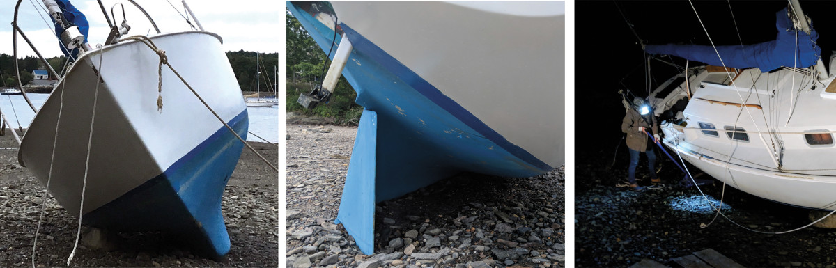 The chafed line can be seen here (left); The rudder was partly buried but fortunately undamaged (middle);I used a floor jack to life the hull off the flat rock(right)