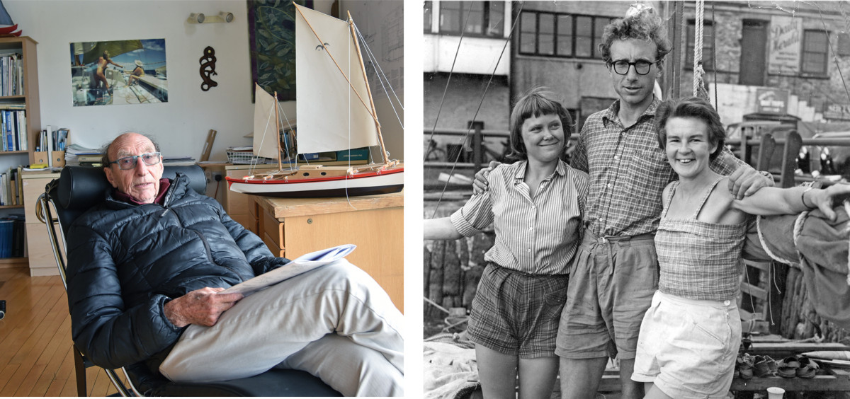 From left: Wharram at ease in his office; with Jutta and Ruth before their groundbreaking voyage;