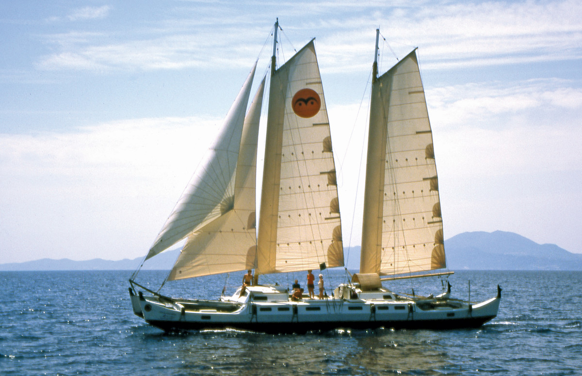 Wharram's biggest design, Spirit of Gaia, carried him and Hanneke Boon around the world