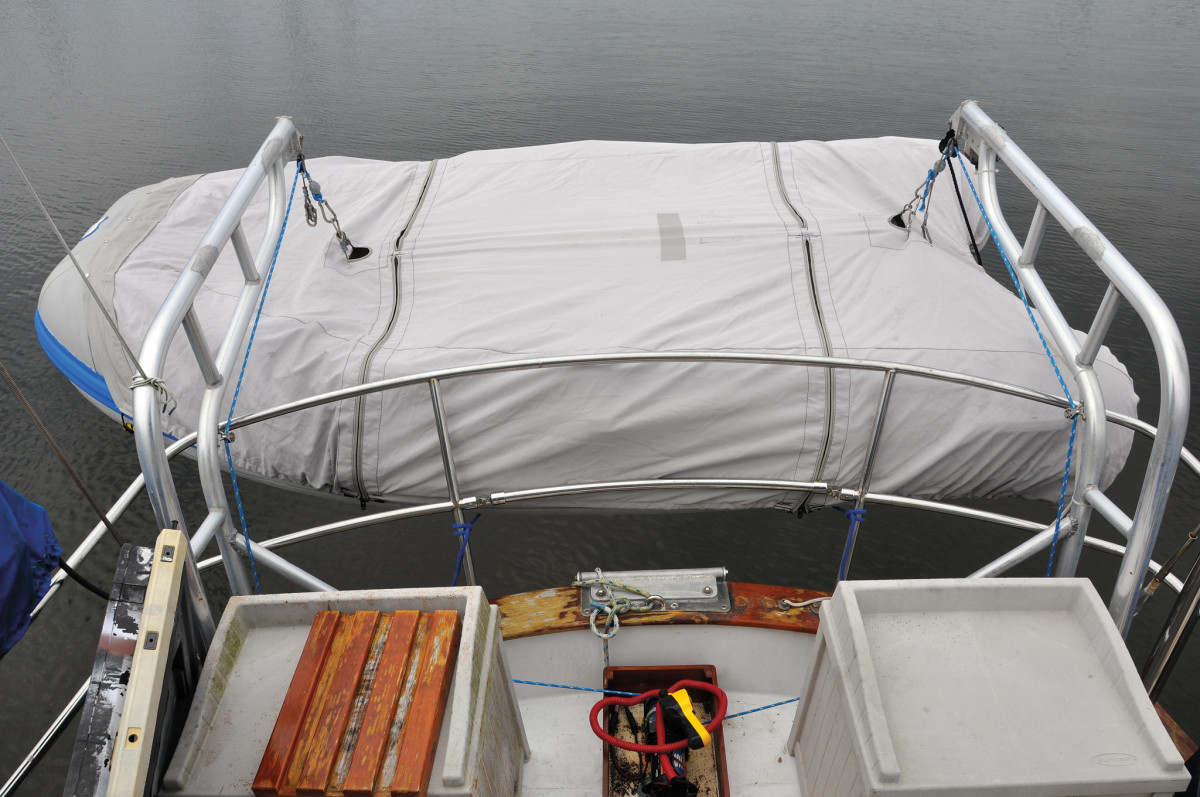 "The covered dinghy now has two zippered ""windows"" that allow easy access"