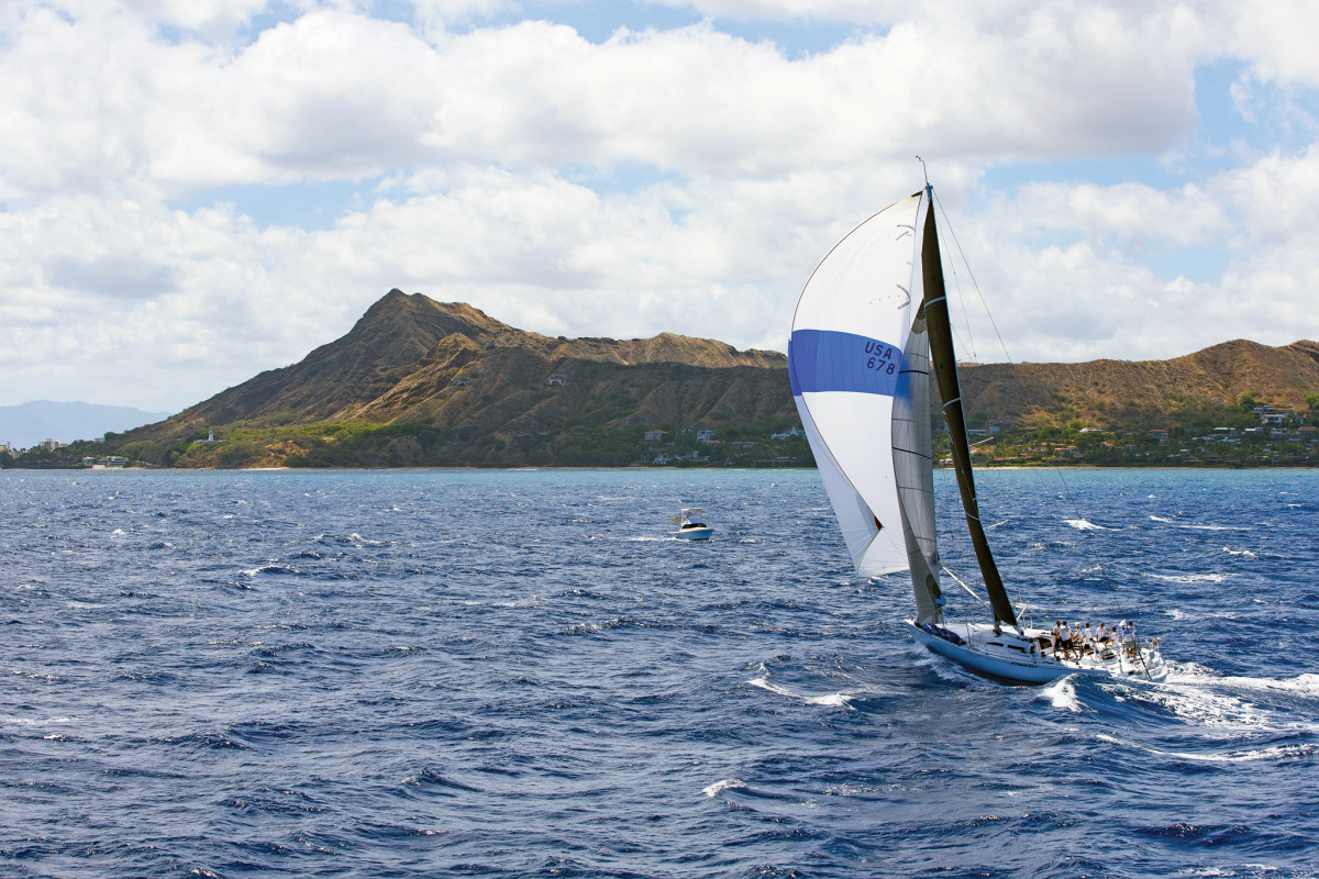 Pyewacket roars toward the finish of the 2017 Transpac