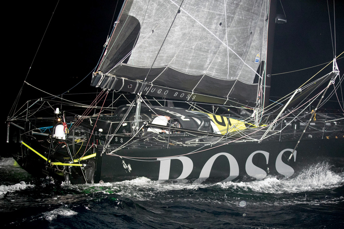 Thomson nurses Hugo Boss toward the finish after running aground