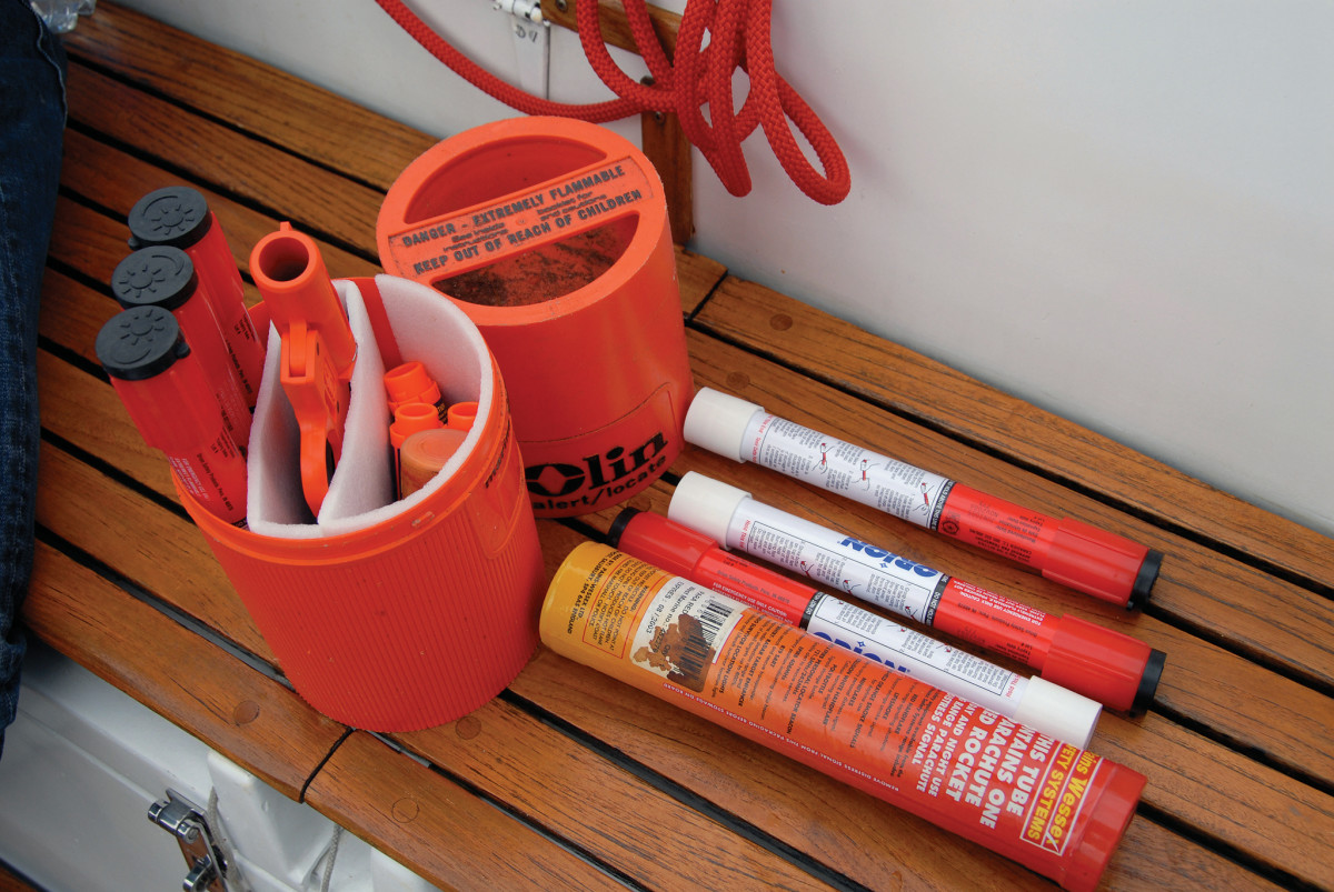 A typical selection of pyrotechnic flares, as carried on a cruising or racing yacht