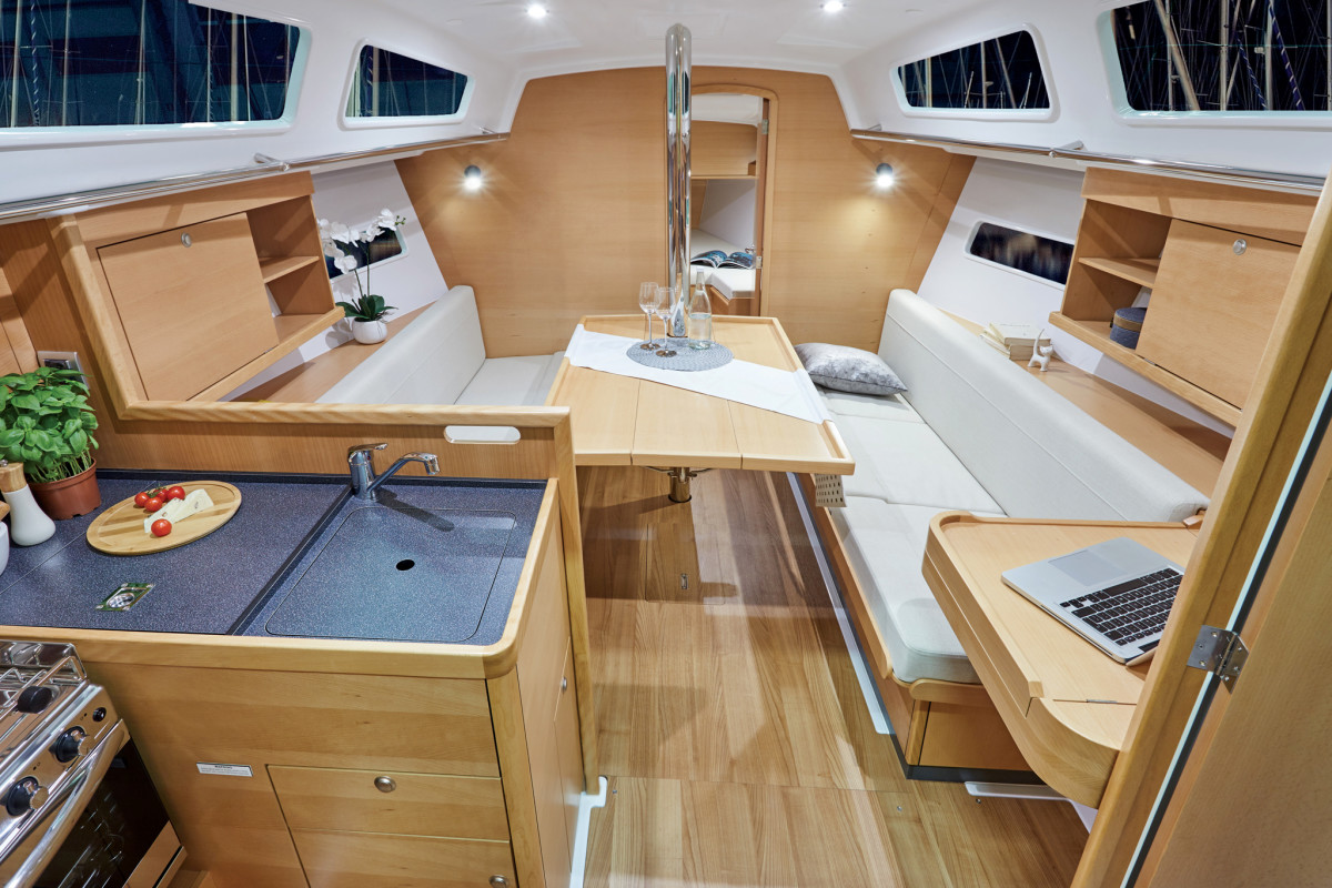 There's a lot of living space belowdecks for a boat this size