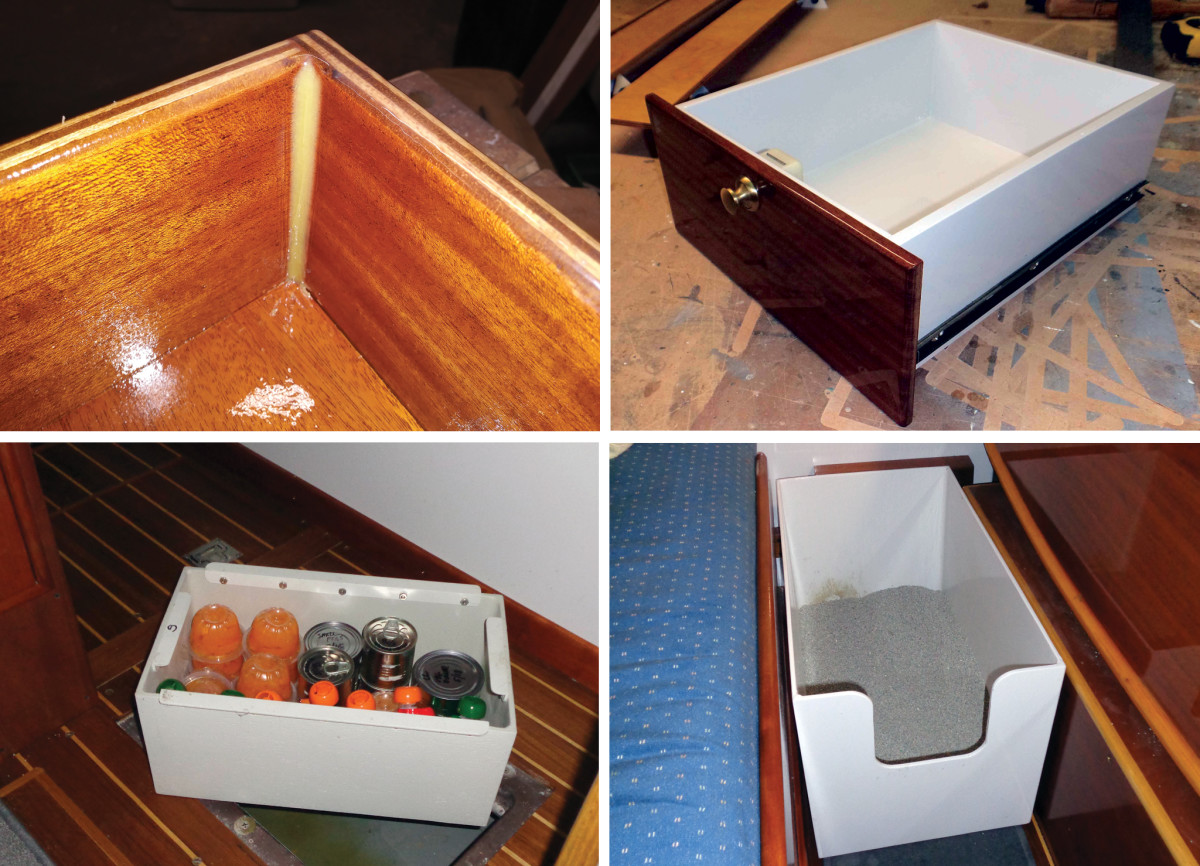 The finished boxes can be varnished or painted (top row); As well as storage bins (bottom left) the author made a custom litterbox for his cat (bottom right)