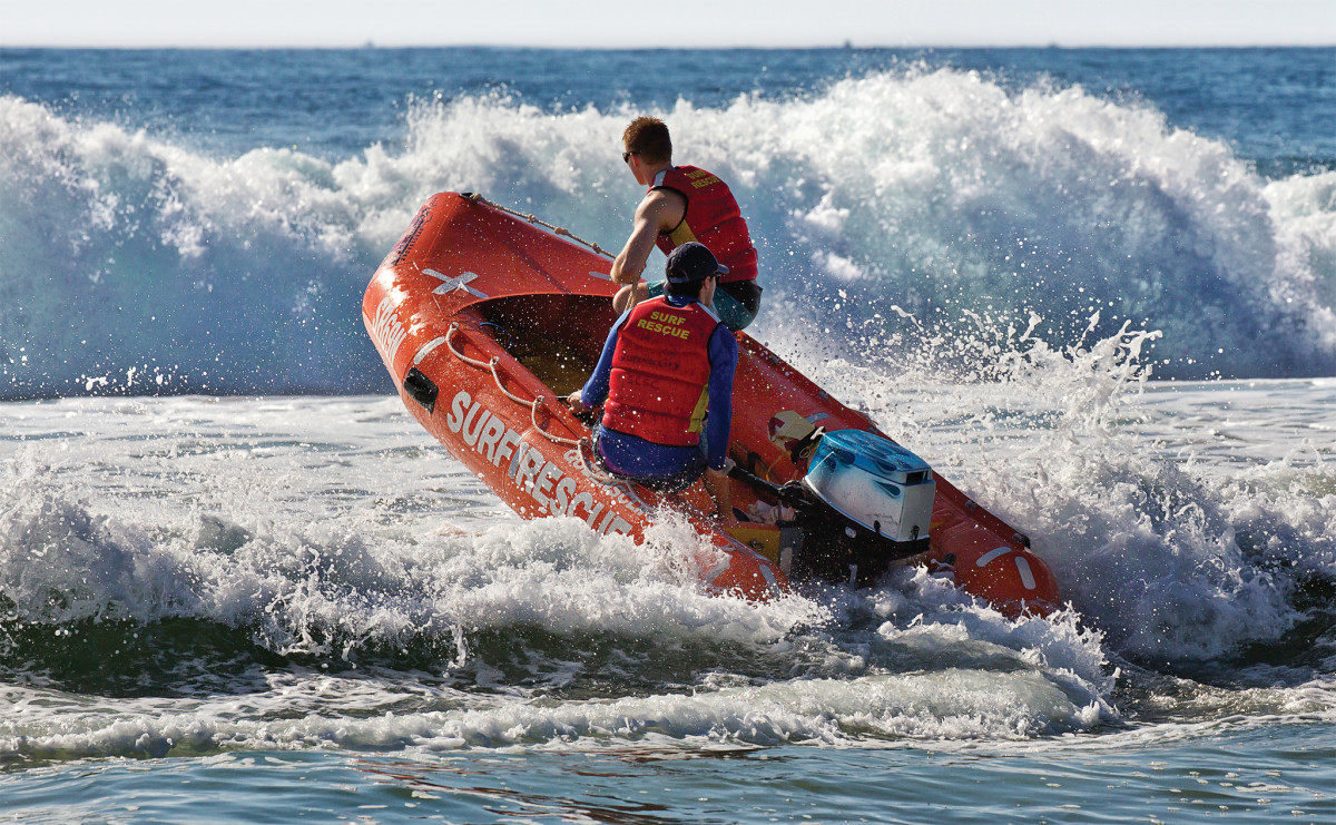 Australian surf rescue volunteers make it look easy, but landing on, and leaving, a surf beach can be a dampening experience
