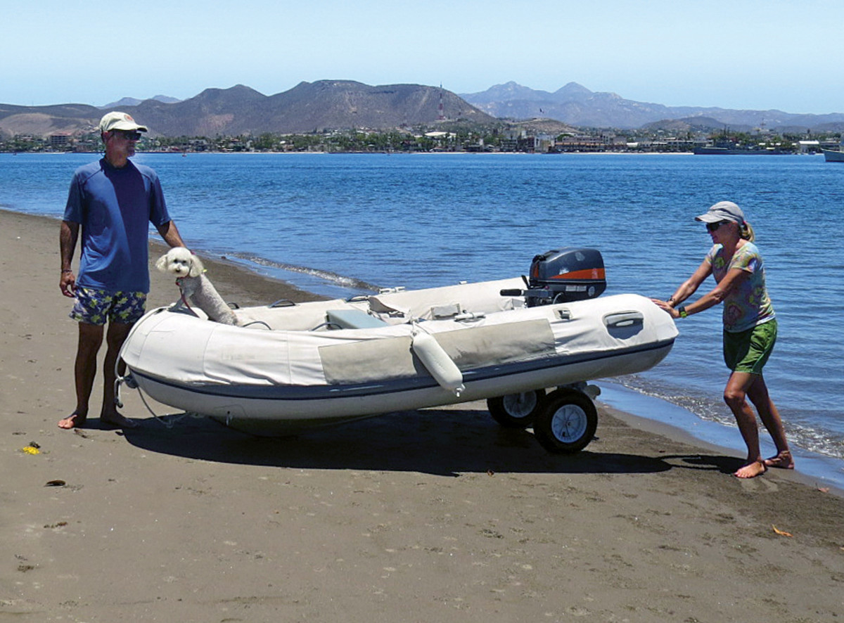 It's easy to haul the tender up onto the beach with the wheels deployed