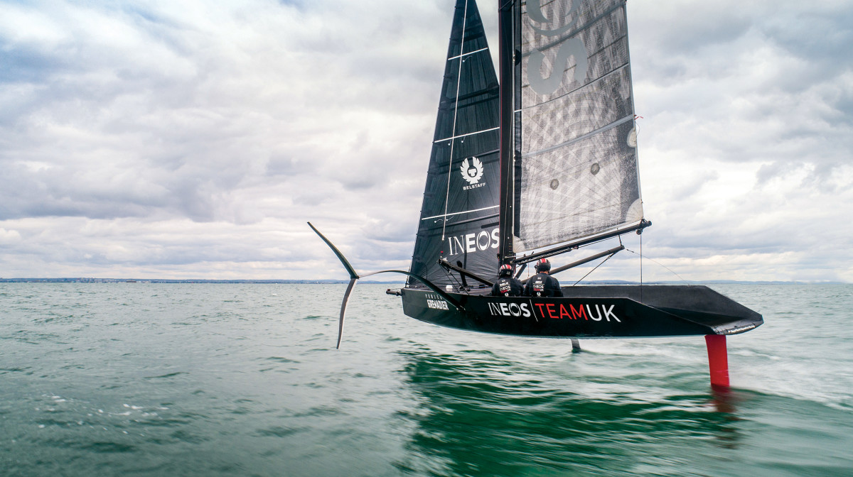 INEOS Team UK's T5 takes flight above the waters of England's Solent