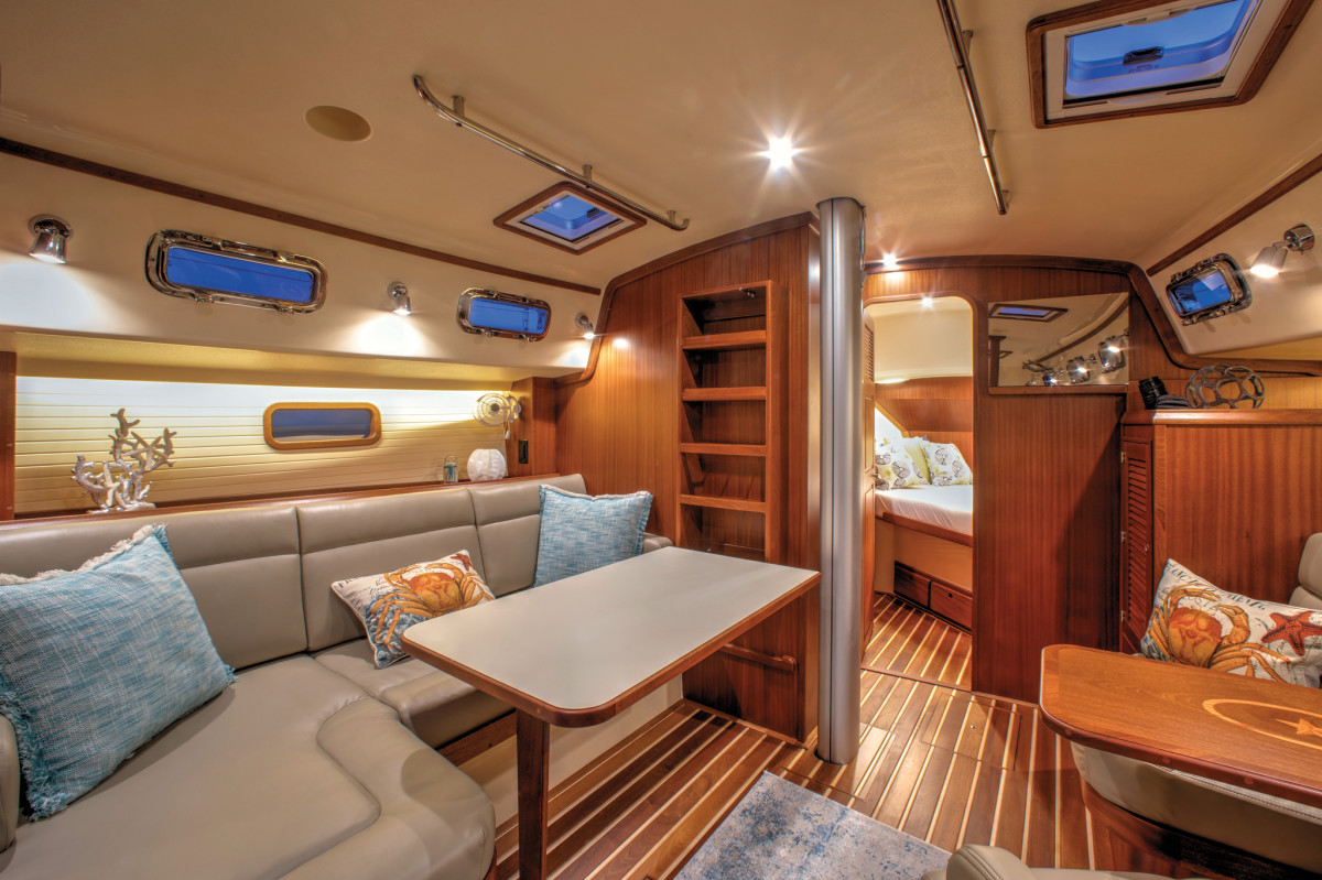 The interiors are all semi-custom on the Island Packet 349