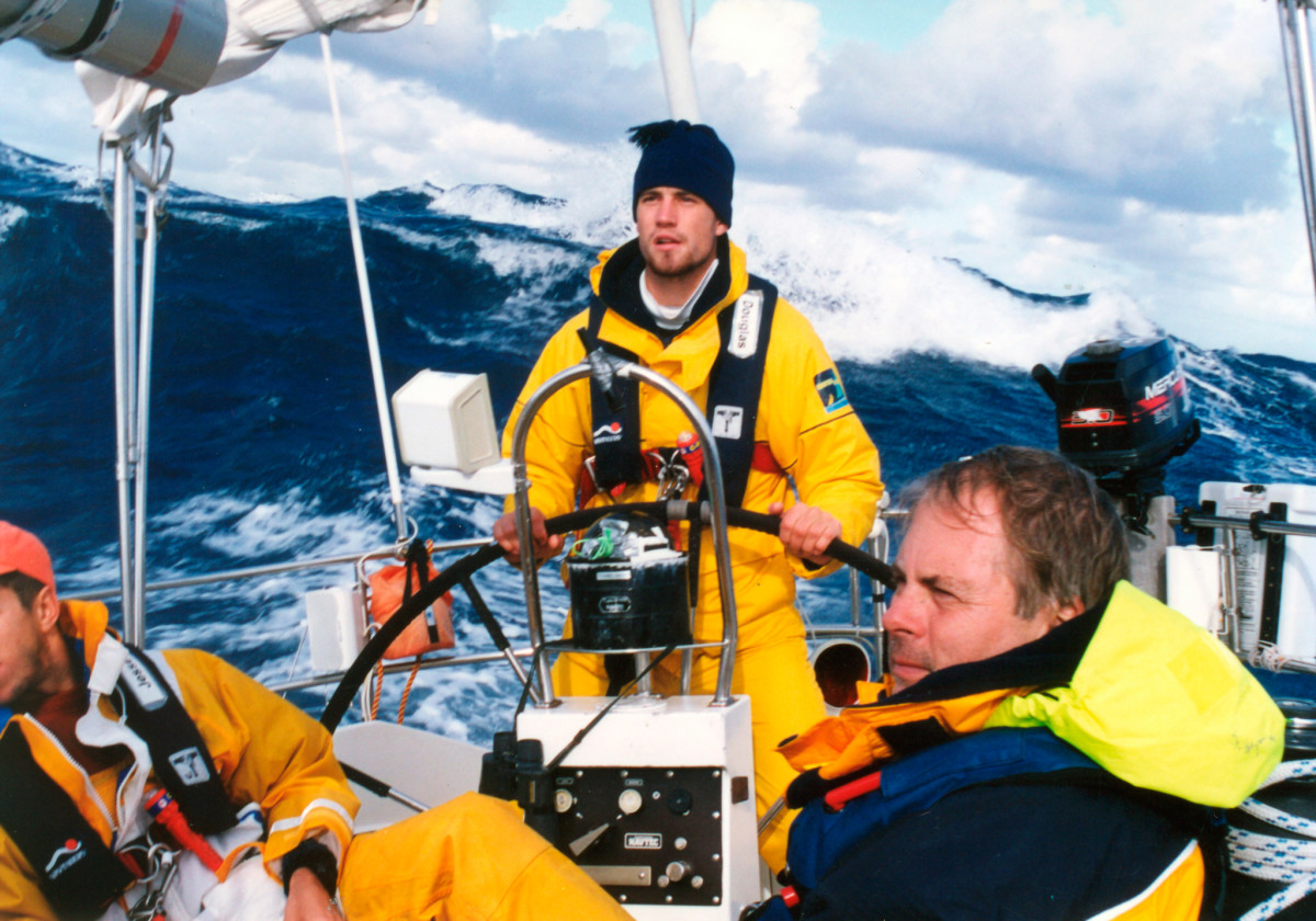 One of the best pickup crews I ever sailed with, after an autumn gale in the Gulf Stream. Not seen is the one guy who got scared the first day and hid below for the duration