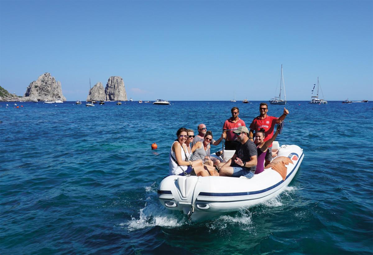 Happy sailors head for shore