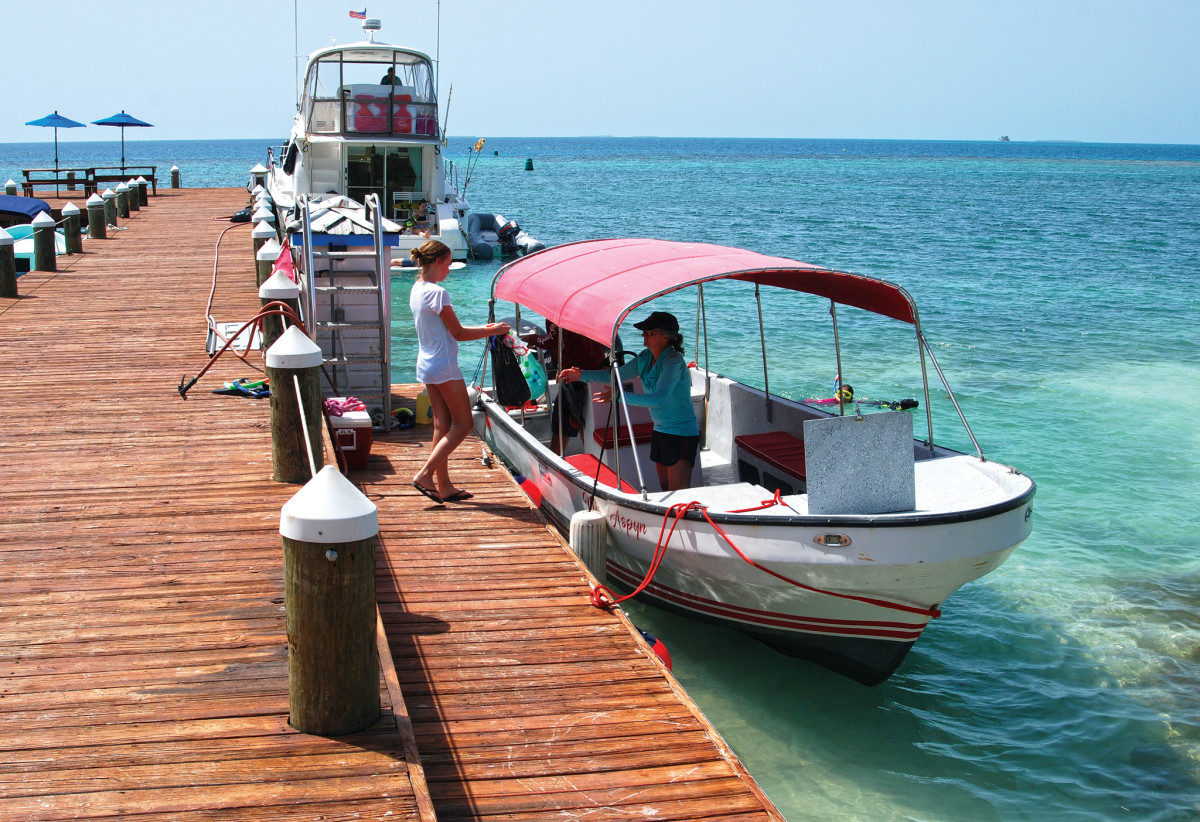 Loading up for a snorkeling excursion on Hatchet Cay