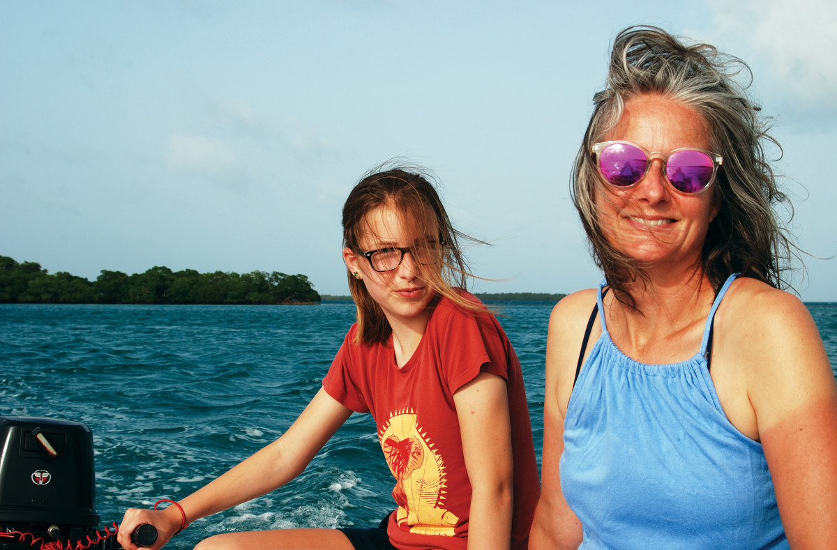 Bridget And Shelly navigating the dinghy