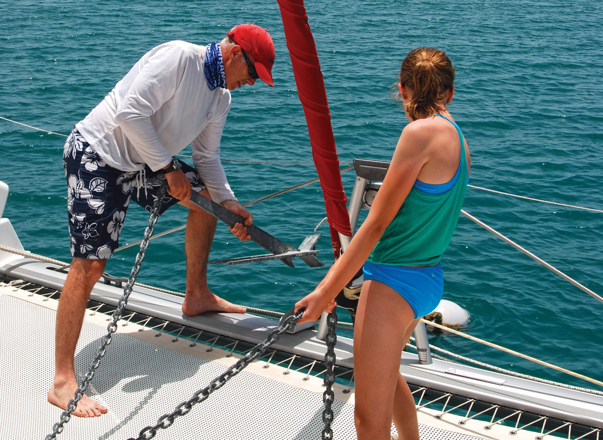 The author and Bridget retrieve the backup hook after another restful night