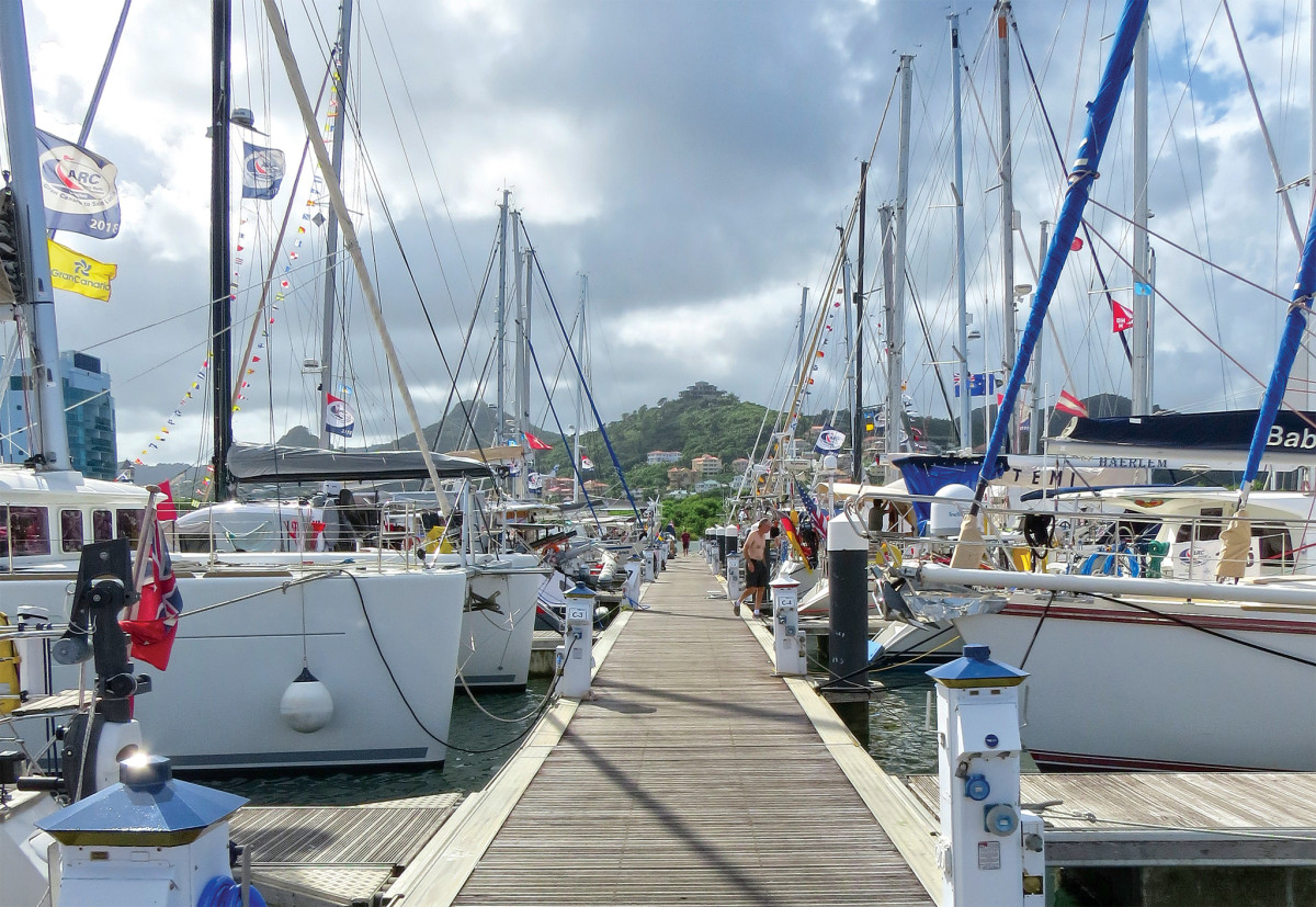 The docks in St. Lucia were crowded with recently arrived boats