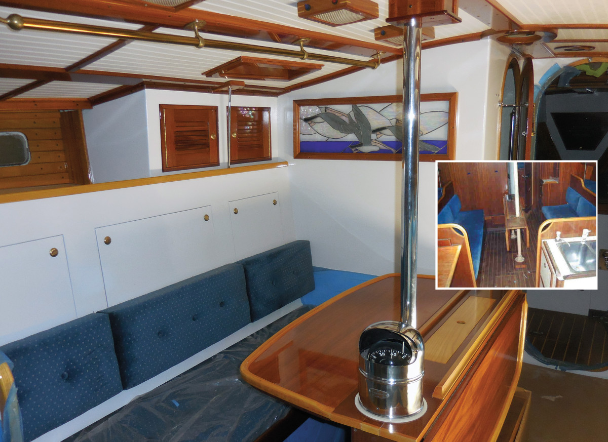 The original saloon (inset) and how she looks after the refit