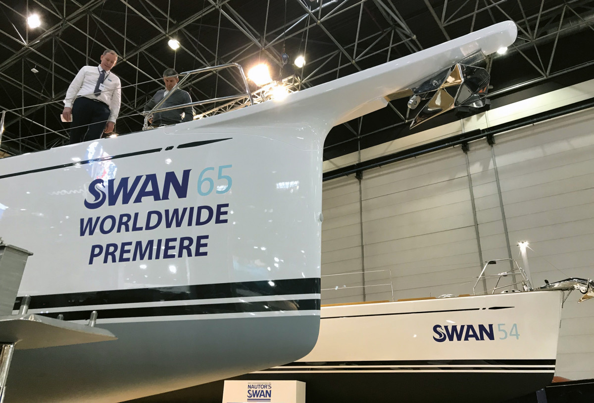 The gorgeous new Swan 65 was one of the stars of the show; bowsprits like this were all the rage, but none was done as well as this one