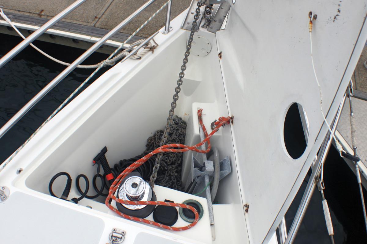 A good anchor locker setup: plenty of room, a protected windlass and stowage for the kedge anchor