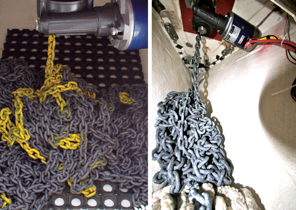 This grid prevents the chain from lying in water (left); Saltwater can also corrode windlass motors (right)