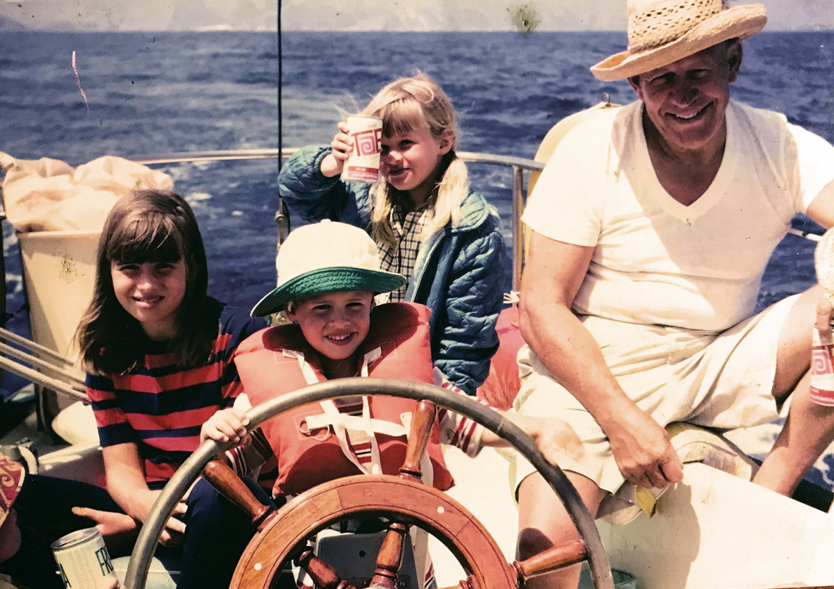 A young John Clark Jr. and family sailing Soncy in the 1960s