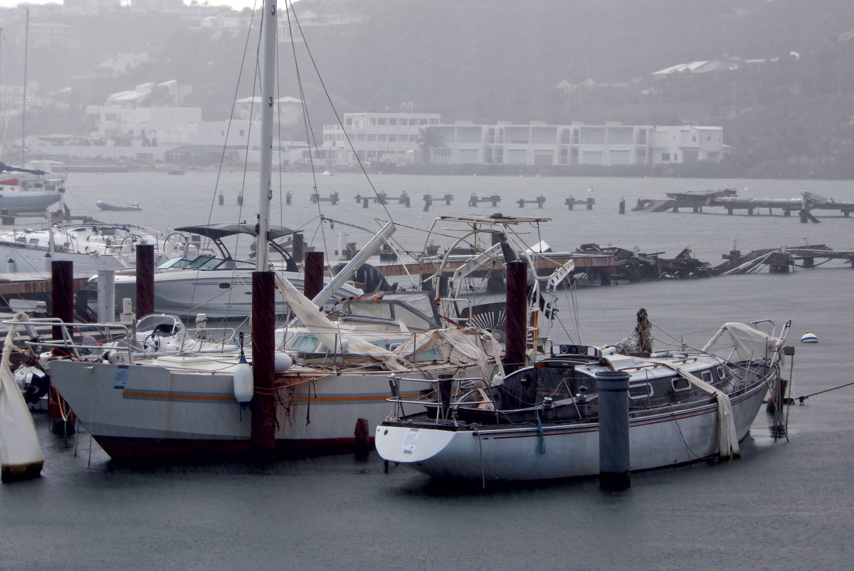 Capt. Oliver's in Oyster Pond on St. Martin 15 months after Irma; they'd removed most of the wrecked boats, but had repaired nothing on shore