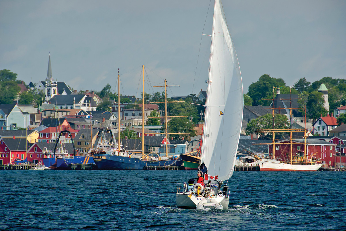 The Lunenburg waterfront, packed with square-riggers, schooners and fishing vessels, welcomes visiting cruisers