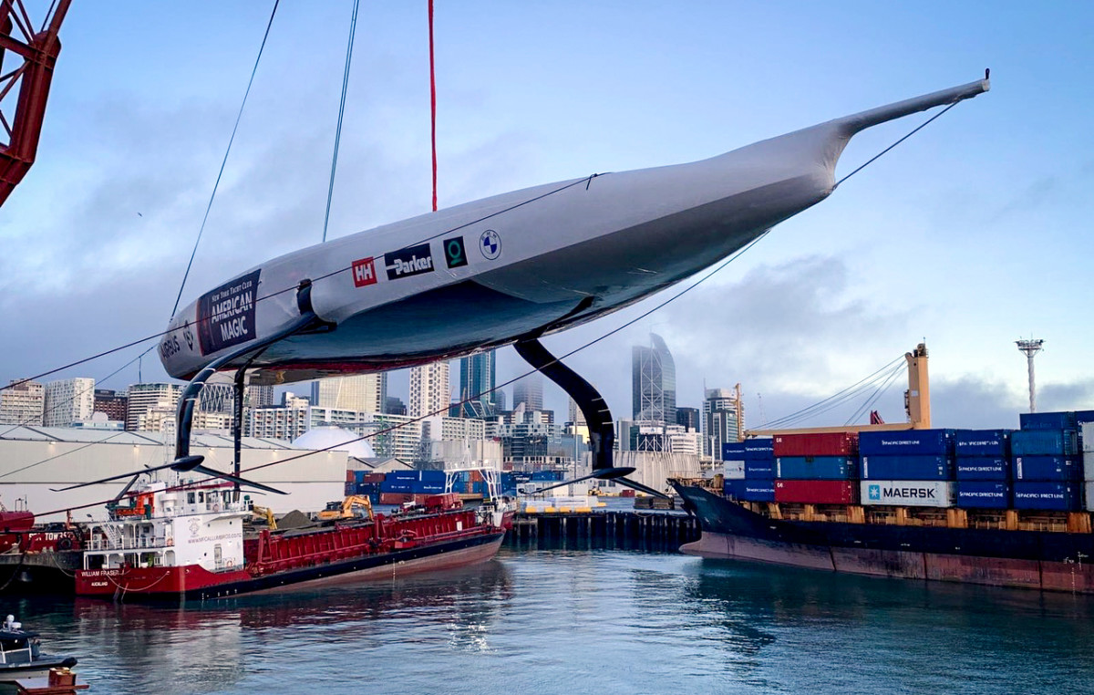 The American Magic boat returns to its element in Auckland Harbor