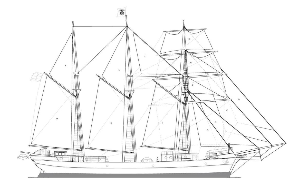 A rendering of the barkentine Cieba's sailplan