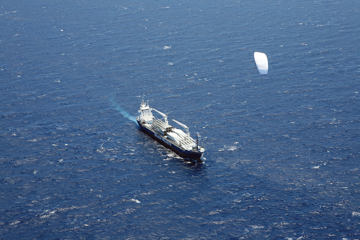 Wing kites, like this one from SkySails, are gaining momentum