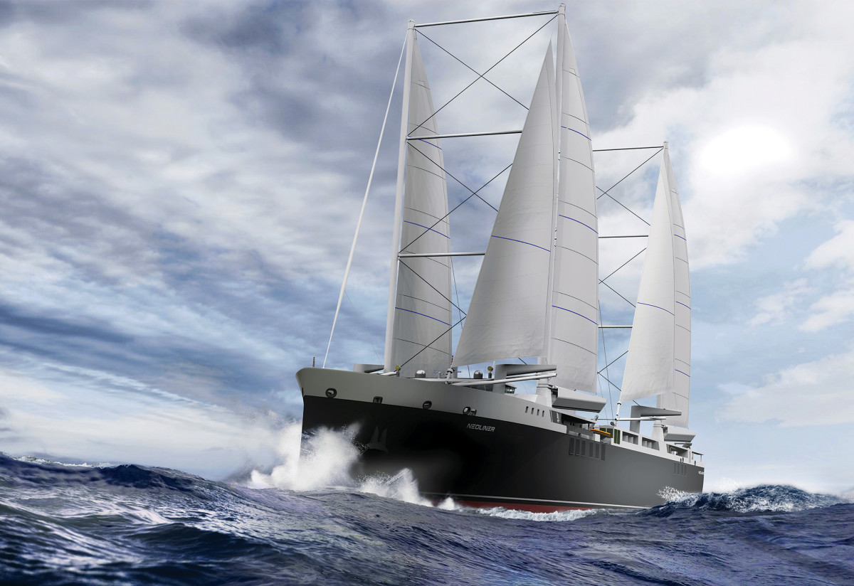 New builds allow designers to reimagine what a sailboat looks like,  as seen in Neoline's double sails
