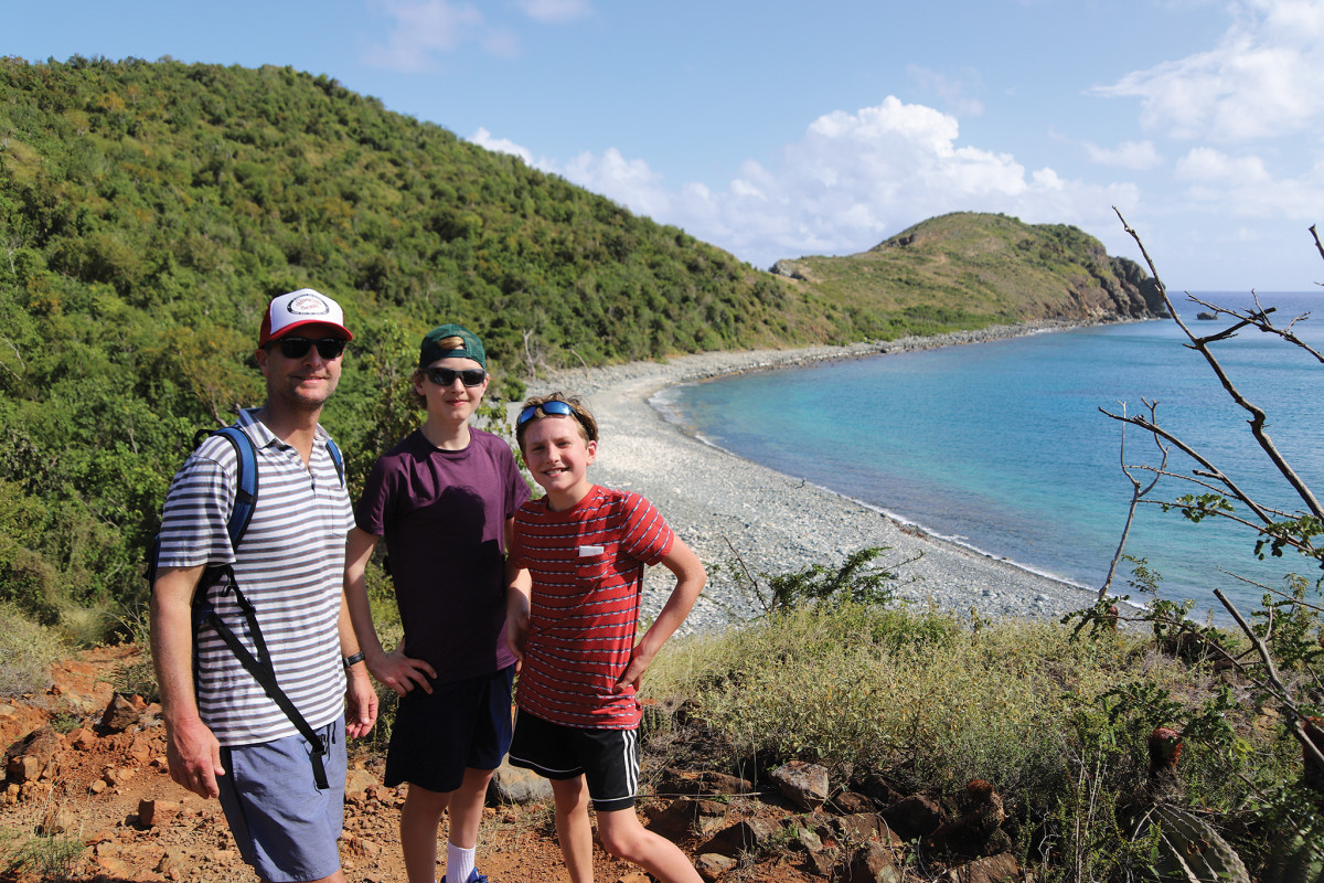 From left, Josh, Malin and Luke out hiking on their way to Ram Head Point
