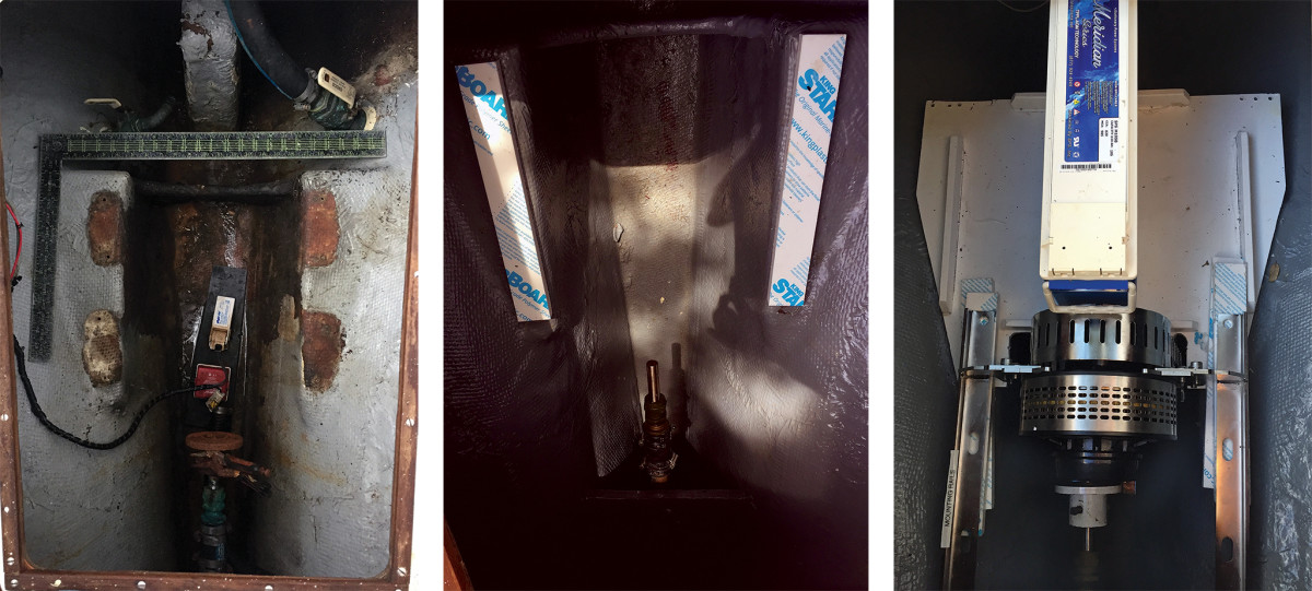 The existing through-hulls needed to be sealed and the engine space cleaned (left);Post cleaning and painting, the refinished prop shaft was re-installed (center);The motor mounted on its brackets and fitted into place (right).