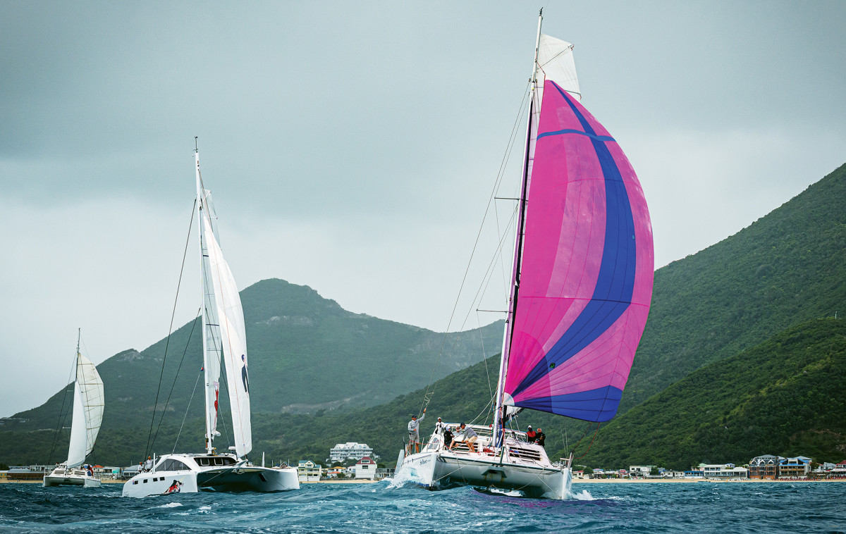 Spellbound leads the fleet out of the starting gate on day three