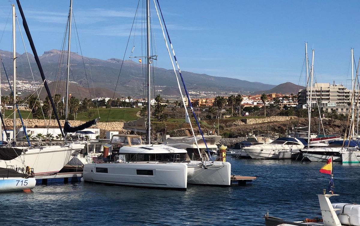Midnight Sun III takes a break in Tenerife Marina