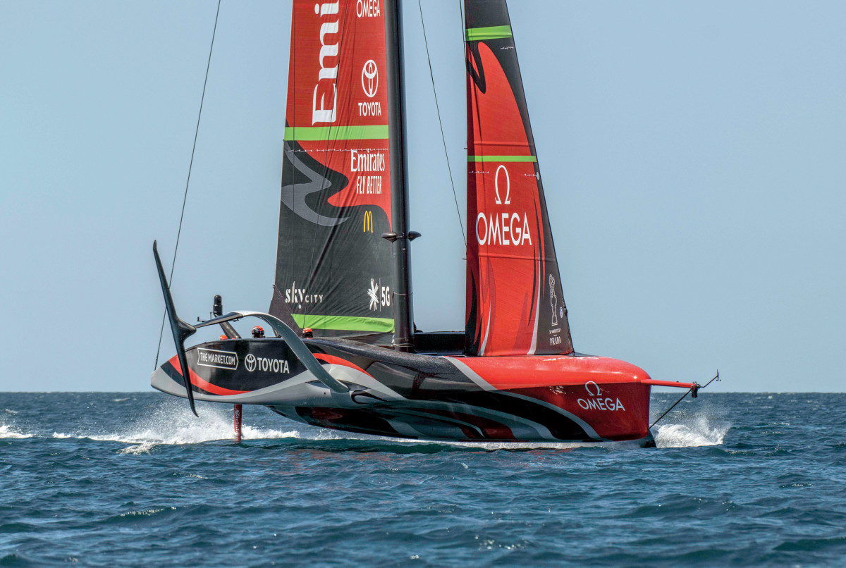 """The Kiwi's second boat features a """"bustle"""" running well aft and distinct cockpits for the crew"""