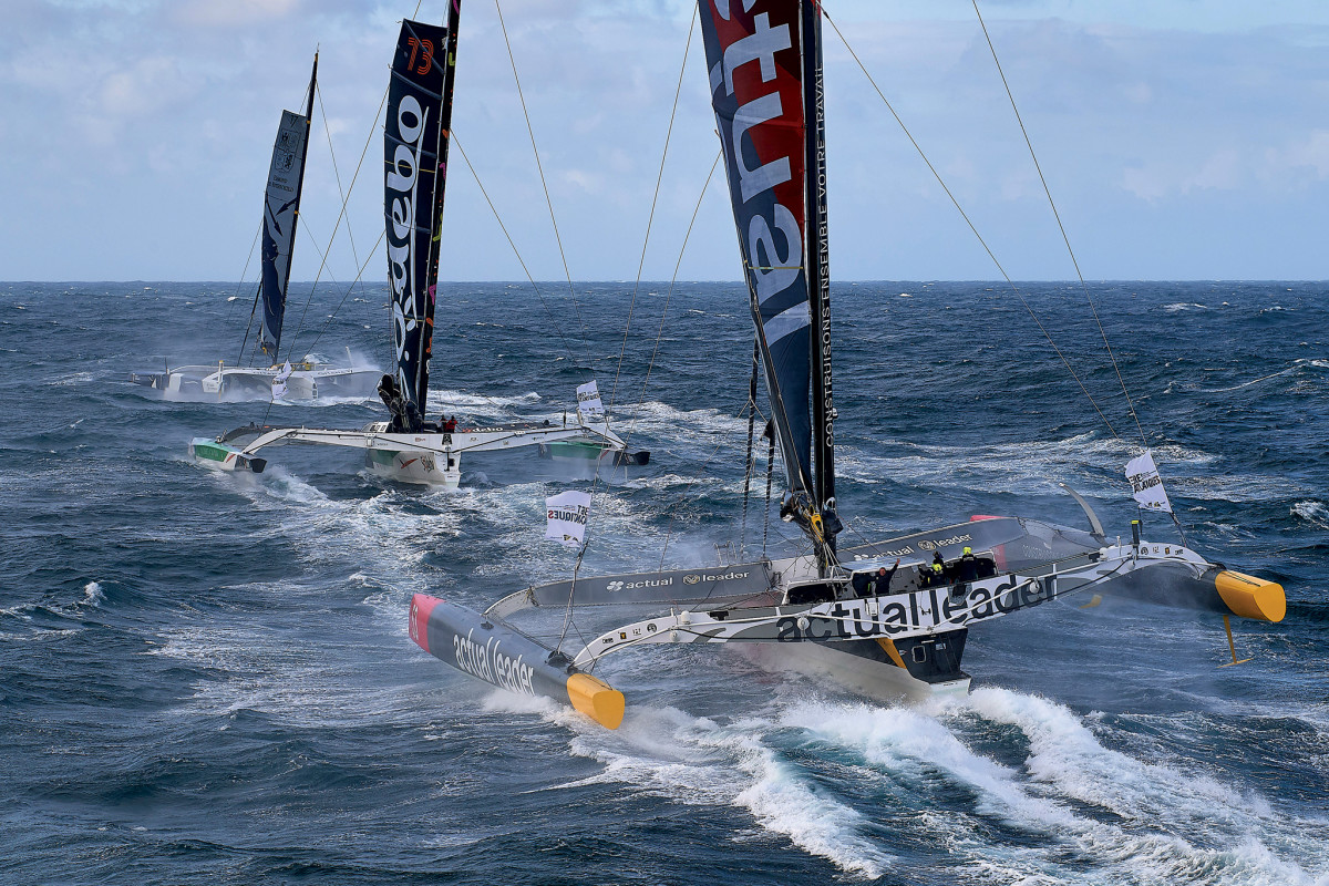 A trio of Ultrime tris sets out on the 2020 Brest Atlantiques race, the newest of the many extreme events that have started out from this part of the world