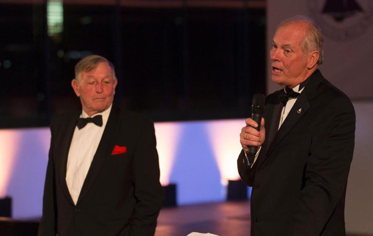 Bob Fisher (above left with America's Cup Hall of Fame sailor Gary Jobson)