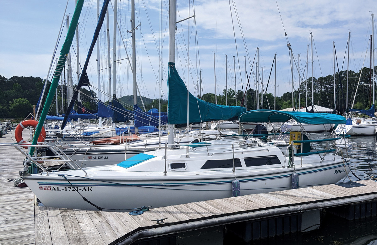 The author's Catalina 270, Pneuma, safely at home in her slip