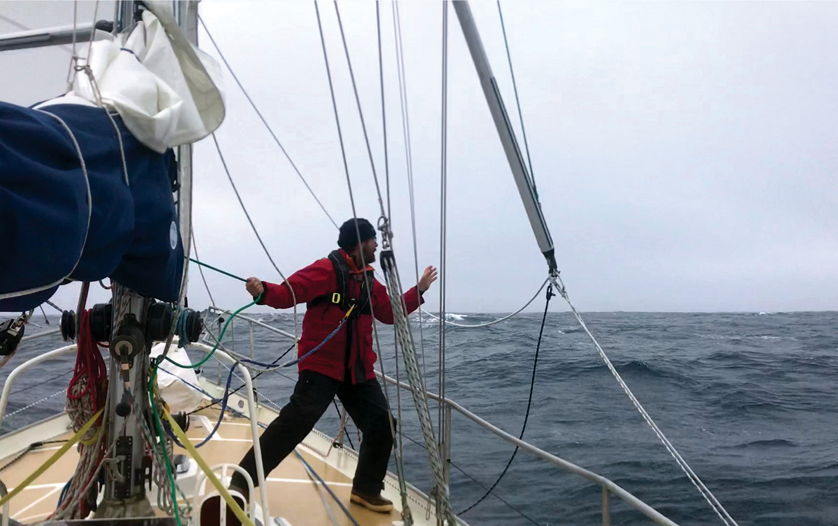 Deep in the Southern Ocean, the author deploys a whisker pole to starboard