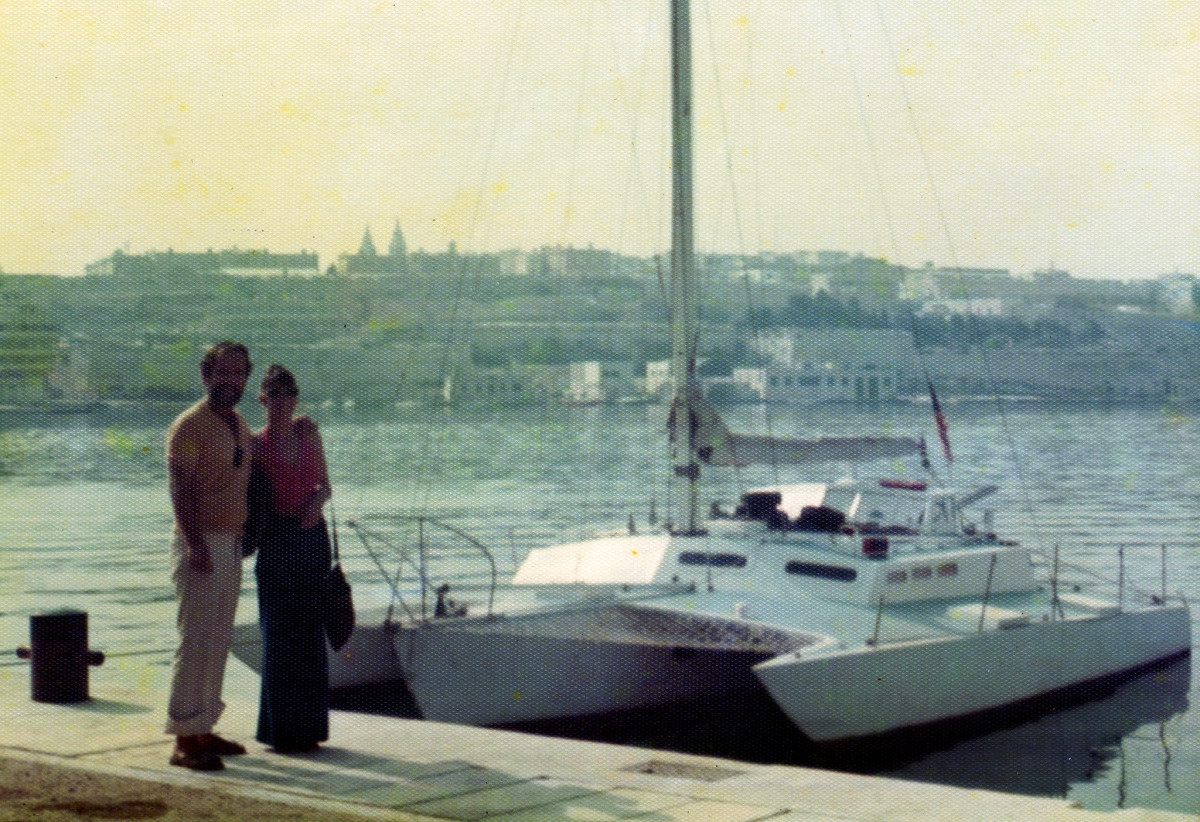 The author's brother and sister-in-law with the boat in the Med