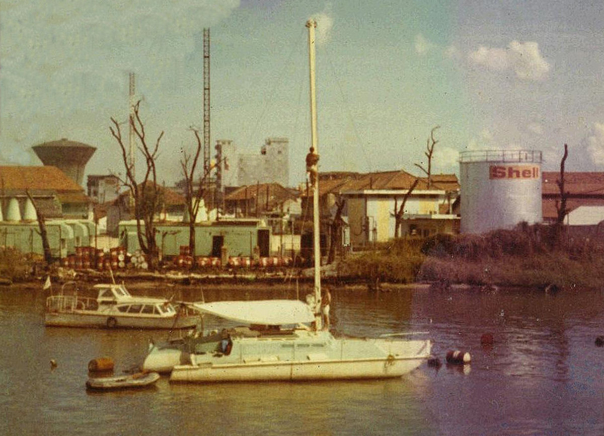 Romany Road rests at a mooring off the Saigon Yacht Club