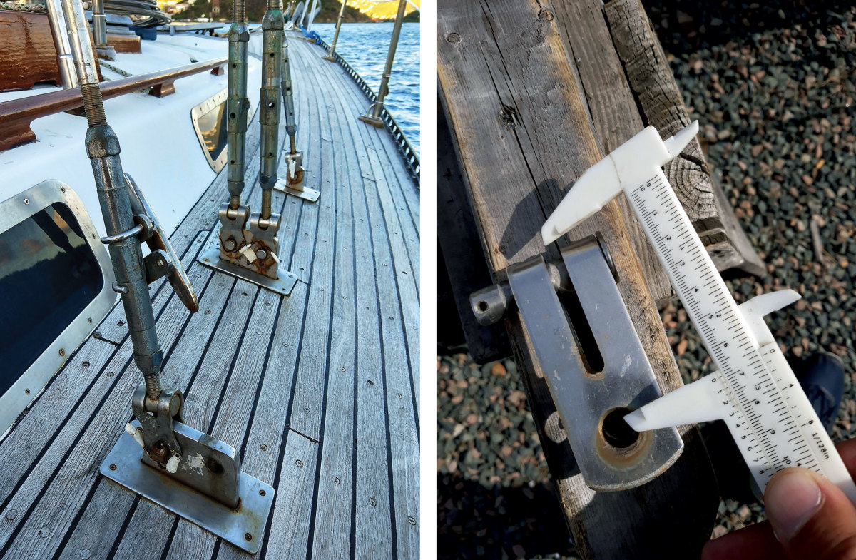 The boat's original rigging shows the stains that are a sure sign of crevice corrosion   (left); Measure twice, cut once (right)